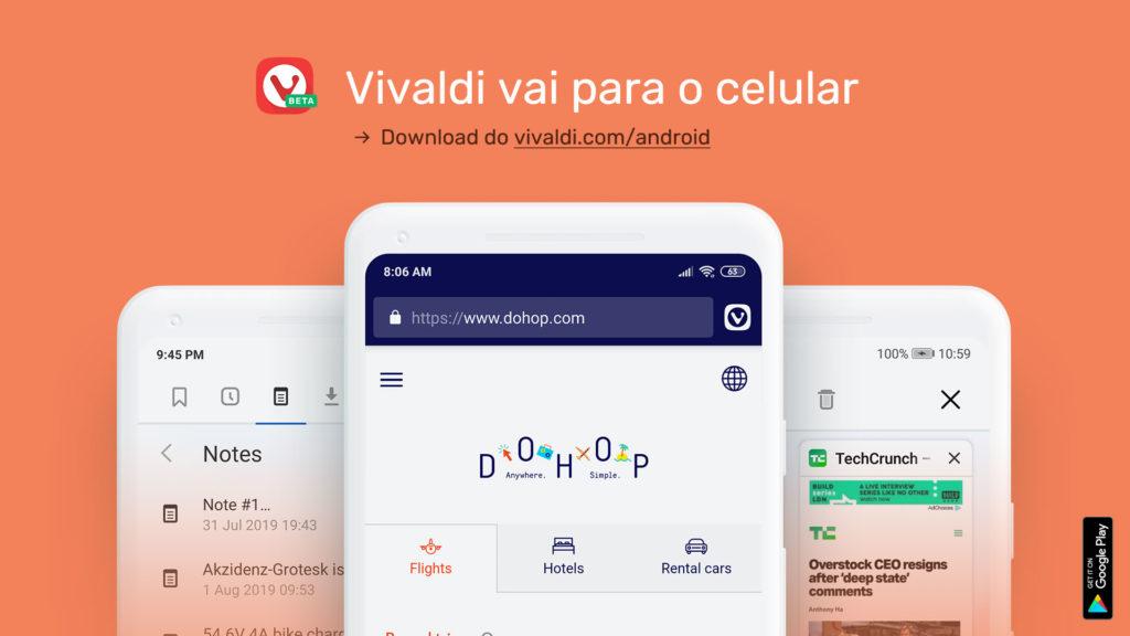 Vivaldi vai para o celular
